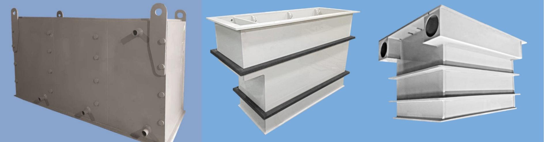Емкости, ванны, воздухораспределители, корпуса оборудования из химстойких материалов: полипропилена, полиэтилена, поливинилхлорида, поливинилденфторида, нержавеющей стали и титана
