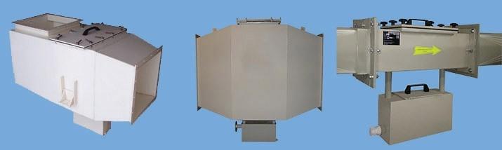 Фильтры волокнистые гальванические – для очистки воздуха от аэрозолей кислот, щелочей и солей: ФВГ-П-М-ЭЛСТАТ (из полипропилена, или поливинилхлорида  ПВХ, или поливинилденфторида  ПВДФ), ФВГ-Н-М-ЭЛСТАТ (из нержавеющей стали), ФВГ-Т-М-ЭЛСТАТ (из титана), ФВГ-Т (из титана), с ручной или полуавтоматической промывкой фильтрующих кассет. С приборами контроля, с пультом управления. Стационарные, встраиваются в вентсистемы.