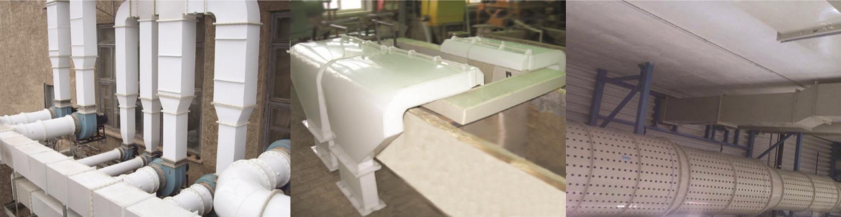Химстойкие воздуховоды, фасонные изделия, каплеуловители, регулируемые заслонки и решетки, воздухораспределители, обратные клапаны, шиберы, гибкие вставки, панели равномерного всасывания, бортовые отсосы из полипропилена, полиэтилена, поливинилхлорида, поливинилденфторида, нержавеющей стали и титана.
