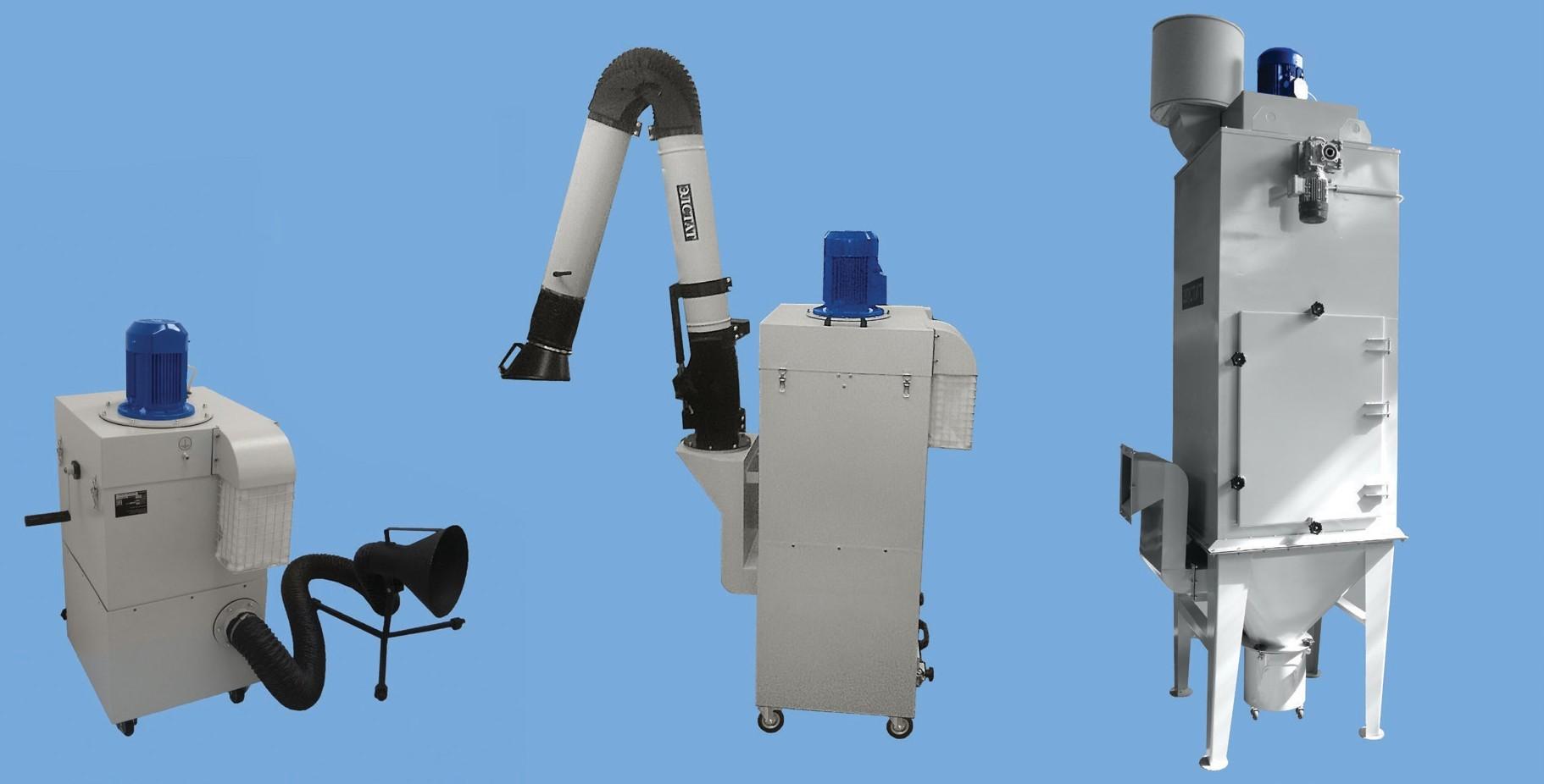 Агрегаты для отсоса и улавливания пыли АОУМ – пылеуловители с ручной, полуавтоматической или автоматической регенерацией встряхиванием фильтрующих элементов, с пультом управления, измерительными приборами. Передвижные и стационарные.