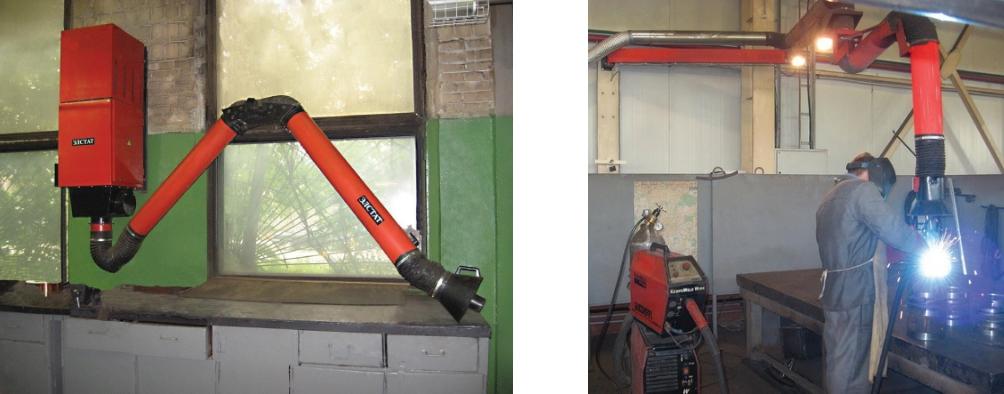 Местные отсосы – для удаления загрязненного воздуха от стационарных рабочих мест: воздуховытяжные устройства ПВУ-ЭЛСТАТ и КПВУ-ЭЛСТАТ, универсальные передвижные вентиляционные установки УПВУ-ЭЛСТАТ