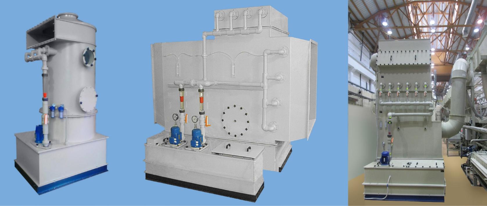 Фильтры-скрубберы с орошаемой насадкой – для очистки воздуха от газов, паров кислот, аэрозолей кислот, щелочей и солей: ФВГ-П-М-ЭЛСТАТ-КО, ФВГ-П-М-ЭЛСТАТ-С-Ц и ФВГ-П-М-ЭЛСТАТ-Щ, ФВГ-П-М-ЭЛСТАТ-ИО. Высокоэффективные. Горизонтальные и вертикальные. С пультом управления, программируемым контроллером, измерительными приборами, системой сигнализации, системой автоматического поддержания ph орошающего раствора. Стационарные, встраиваются в вентсистемы.